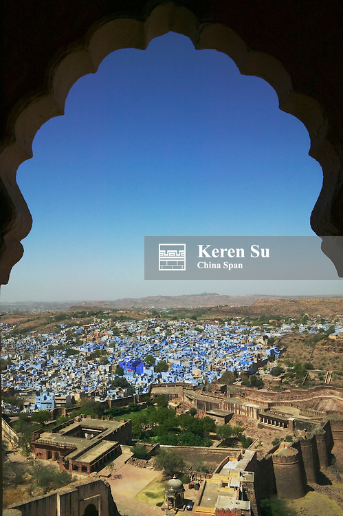 View of cityscape of the Blue City from Meherangarh, the Majestic Fort, Jodhpur, Rajasthan, India