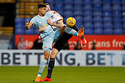 Sunderland striker Ashley Fletcher (9) and Bolton Wanderers defender Mark Beevers (5)) during the EFL Sky Bet Championship match between Bolton Wanderers and Sunderland at the Macron Stadium, Bolton, England on 20 February 2018. Picture by Craig Galloway.