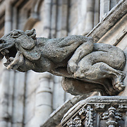A stong gargoyle on the exterior of the Brussels Town Hall (Hotel de Ville) on Grand Place (La Grand-Place), a UNESCO World Heritage Site in central Brussels, Belgium. Lined with ornate, historic buildings, the cobblestone square is the primary tourist attraction in Brussels.