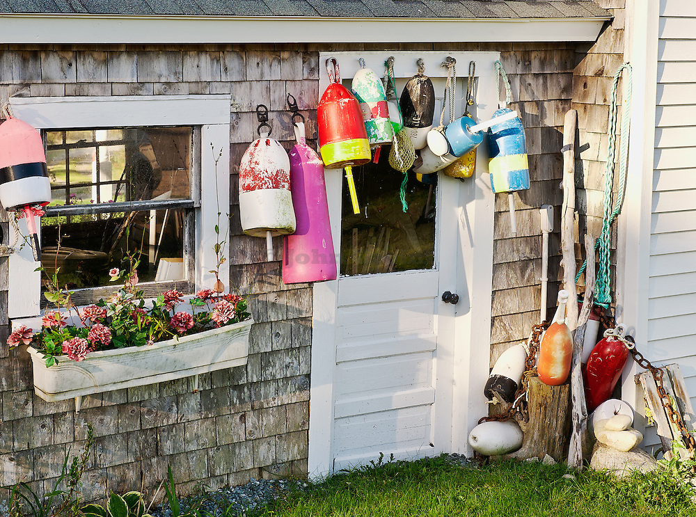 Coastal shed with lobster buoys, Corea, Maine, USA