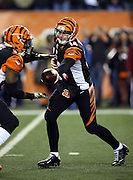 Cincinnati Bengals quarterback Andy Dalton (14) hands off the ball to Cincinnati Bengals running back Jeremy Hill (32) on a first quarter running play during the NFL week 10 regular season football game against the Cleveland Browns on Thursday, Nov. 6, 2014 in Cincinnati. The Browns won the game 24-3. ©Paul Anthony Spinelli