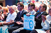 Brexit Party event<br /> Nigel Farage and Ann Widdecombe in Peterborough for a rally with the Brexit Party&rsquo;s Eastern region European election candidates. <br /> at King's Gate Conference Centre, Peterborough, Great Britain <br /> 7th May 2019 <br /> <br /> Audience <br /> <br /> Photograph by Elliott Franks