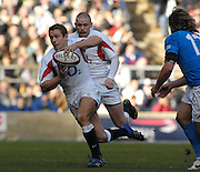 Twickenham, GREAT BRITAIN, Jonny WILKINSON running through the midfield with the ball, supported by Iain BALSHAW,  during the  England vs Italy, Six Nations Rugby match,  played at the  RFU Twickenham Stadium on Sat 10.02.2007  [Photo, Peter Spurrier/Intersport-images].....