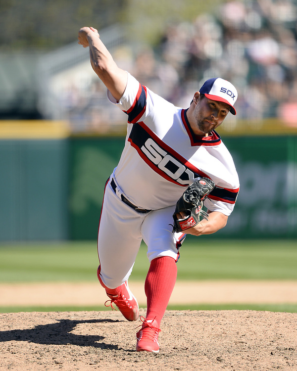 CHICAGO - APRIL 23:  Tommy Kahnle #48 of the Chicago White Sox pitches against the Cleveland Indians on April 23, 2017 at Guaranteed Rate Field in Chicago, Illinois.  The White Sox defeated the Indians 6-2.  (Photo by Ron Vesely)   Subject:  Tommy Kahnle