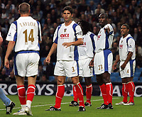 Photo: Paul Thomas.<br /> Manchester City v Portsmouth. The Barclays Premiership. 23/08/2006.<br /> <br /> Sol Campbell, new Portsmouth player, (2nd R) helps set their defence.
