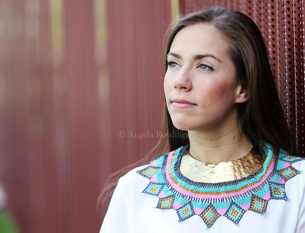 (Boston, MA - 5/20/15) Carolina Baena is the jewelry designer & proprietor of Jet Lag Mode, Wednesday, May 20, 2015. Staff photo by Angela Rowlings.