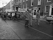 Irish Nurses Organisation Protest..28.05.1986..05.28.1986..28th May 1986..In protest against proposed health cuts the Irish Nurses Organisation organised a protest march to Dail Eireann. Nurses from all over Ireland were represented at the march...Photograph shows INO leaders,Mr John Pepper,General Secretary,Ms Bridget Butler,President,INO and Ms Ita O'Dwyer,Past president, leading the protest march to the gates of Leinster House.
