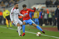 November 2, 2017 - Bucharest, Romania - Hapoel's Dor Elo vies Steaua's Florinel Coman during the UEFA Europa League 2017-2018, Group Stage, Groupe G game between FCSB Bucharest (ROU) and Hapoel Beer-Sheva FC (ISR) at National Arena Stadium, Bucharest,  Romania, on 2 November 2017. (Credit Image: © Alex Nicodim/NurPhoto via ZUMA Press)