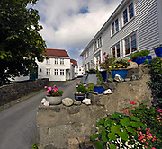 Old, traditional houses in the beautiful city of Skudenes on Karmöy, western Norway.