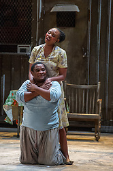 © Licensed to London News Pictures. 10/07/2012. Cape Town Opera return to the London Coliseum this July with their acclaimed production of Porgy and Bess. Picture shows: Nonhlanhla Yende (Bess) and Xolela Sixaba (Porgy). Photo credit : Tony Nandi/LNP