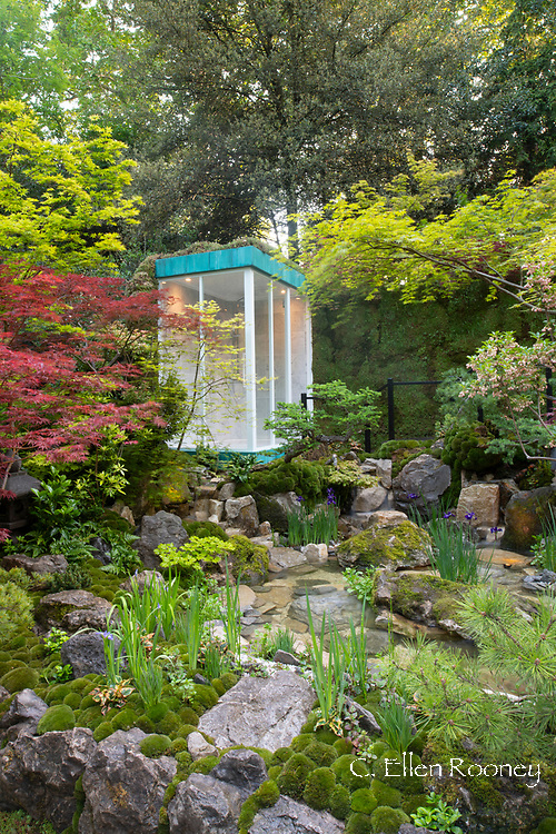 The Green Switch Garden designed by Kazyuki Ishihara and winner of a gold medal in the artisan gardens category at the RHS Chelsea Flower Show 2019, London, UK