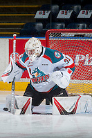 KELOWNA, CANADA - FEBRUARY 10: Brodan Salmond #31 of the Kelowna Rockets warms up in net against the Vancouver Giants on February 10, 2017 at Prospera Place in Kelowna, British Columbia, Canada.  (Photo by Marissa Baecker/Shoot the Breeze)  *** Local Caption ***