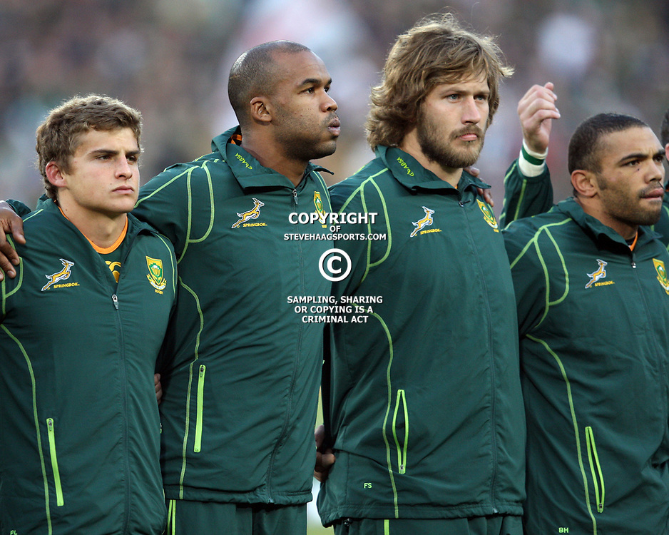 JOHANNESBURG, SOUTH AFRICA - JUNE 16, Patrick Lambie  with JP Pietersen Frans Steyn and Bryan Habana during the 2nd Castle Lager Incoming Tour test match between South Africa and England from Coca Cola Park on June 16, 2012 in Johannesburg, South Africa<br /> Photo by Steve Haag / Gallo Images
