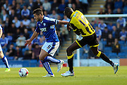 Chesterfield FC miffielder Sam Morsy fends off the challenge whilst looking for a pass during the Sky Bet League 1 match between Chesterfield and Burton Albion at the Proact stadium, Chesterfield, England on 26 September 2015. Photo by Aaron Lupton.
