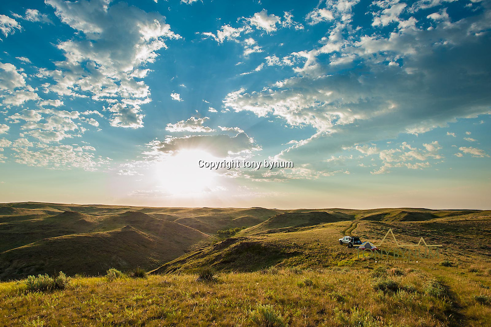 car camping in tent on the prairie lands of montana