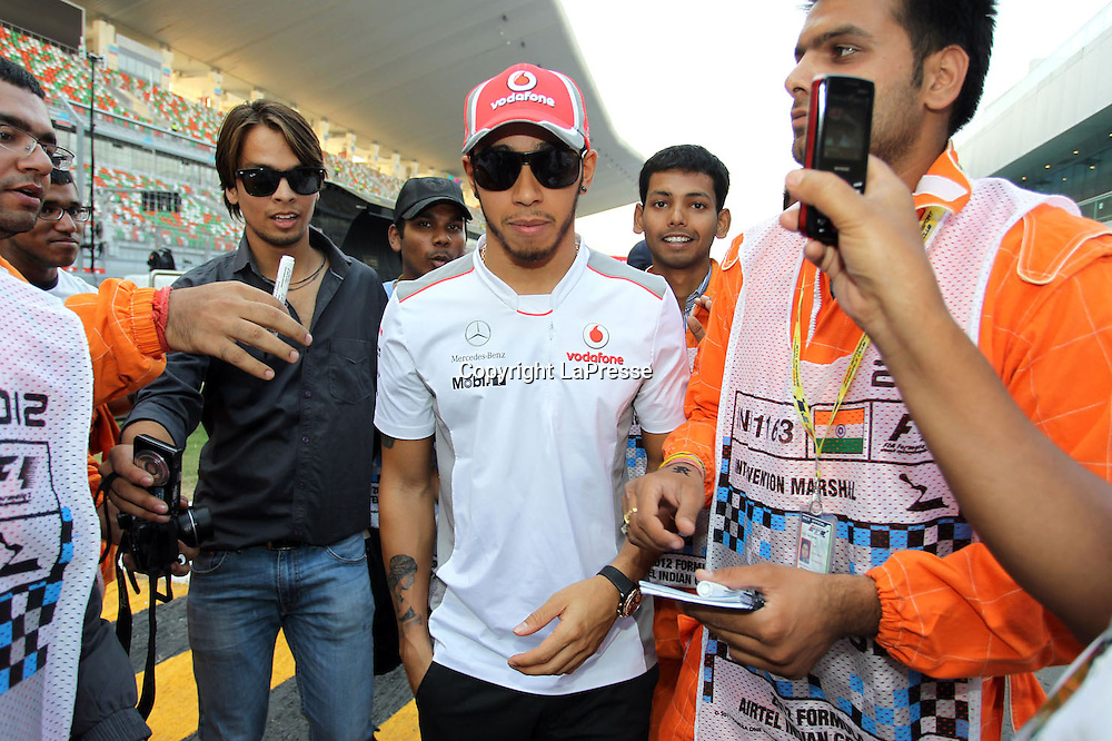 &copy; Photo4 / LaPresse<br /> 25/10/2012 Noida, India<br /> Sport <br /> Indian Grand Prix, Noida 25-28 October 2012<br /> In the pic: Lewis Hamilton (GBR), McLaren  Mercedes, MP4-27