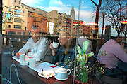 Cafe de la Riba - Sushi Bar & Restaurant. Sant Feliu church reflected  GIRONA Catalonia Spain