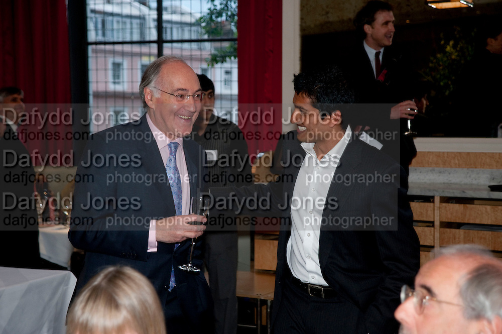 MICHAEL HOWARD;  INDROJIT BANERJI, Literary charity First Story fundraising dinner. Cafe Anglais. London. 10 May 2010. *** Local Caption *** -DO NOT ARCHIVE-© Copyright Photograph by Dafydd Jones. 248 Clapham Rd. London SW9 0PZ. Tel 0207 820 0771. www.dafjones.com.<br /> MICHAEL HOWARD;  INDROJIT BANERJI, Literary charity First Story fundraising dinner. Cafe Anglais. London. 10 May 2010.