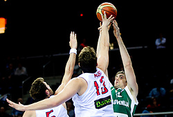 Rudy Fernandez of Spain and Marc Gasol of Spain vs Erazem Lorbek of Slovenia during basketball game between National basketball teams of Spain and Slovenia at Quarterfinals of FIBA Europe Eurobasket Lithuania 2011, on September 14, 2011, in Arena Zalgirio, Kaunas, Lithuania.  (Photo by Vid Ponikvar / Sportida)