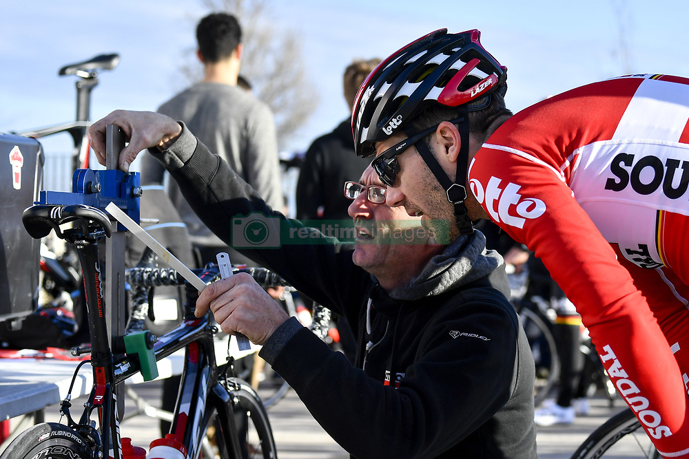 December 15, 2017 - Majorca, SPAIN - Belgian Maxime Monfort of Lotto Soudal and a technician check the saddle during a press day during Lotto-Soudal cycling team stage in Mallorca, Spain, ahead of the new cycling season, Friday 15 December 2017. BELGA PHOTO DIRK WAEM (Credit Image: © Dirk Waem/Belga via ZUMA Press)