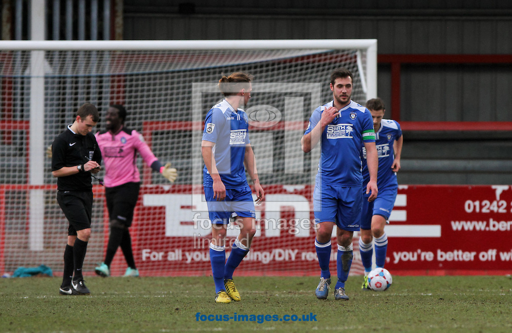 Ashlee Jones, (2nd left) Lee Smith, (3rd left) Dan Gleeson (2nd right) and Ross Jarvis (right) all of Lowestoft Town look dejected after going 1-0 down during the Conference North match at the Abbey Business Stadium, Cheltenham<br /> Picture by Tom Smith/Focus Images Ltd 07545141164<br /> 31/01/2015