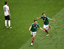 MOSCOW, June 17, 2018  Hirving Lozano (C) of Mexico celebrates his scoring during a group F match between Germany and Mexico at the 2018 FIFA World Cup in Moscow, Russia, June 17, 2018. (Credit Image: © Wang Yuguo/Xinhua via ZUMA Wire)