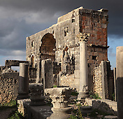 The House of the Dog (foreground) with its Corinthian capitals, where a bronze canine statue was found, and the Triumphal Arch of Caracalla, built 217 AD by the city's governor Marcus Aurelius Sebastenus in honour of Emperor Caracalla, 188-217 AD, and his mother Julia Domna, Volubilis, Northern Morocco. Volubilis was founded in the 3rd century BC by the Phoenicians and was a Roman settlement from the 1st century AD. Volubilis was a thriving Roman olive growing town until 280 AD and was settled until the 11th century. The buildings were largely destroyed by an earthquake in the 18th century and have since been excavated and partly restored. Volubilis was listed as a UNESCO World Heritage Site in 1997. Picture by Manuel Cohen