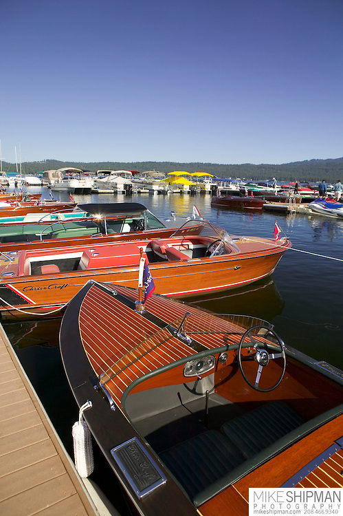 Idaho, Valley County, McCall, Payette Lake. 18' 1933 Chris Craft Runabout 301. McCall Wood Boat Show.