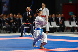 November 10, 2018 - Madrid, Madrid, Spain - Bottaro Viviana (ITA) win the bronce medal and the third place of the tournament of female kata during the Finals of Karate World Championship celebrates in Wizink Center, Madrid, Spain, on November 10th, 2018. (Credit Image: © AFP7 via ZUMA Wire)