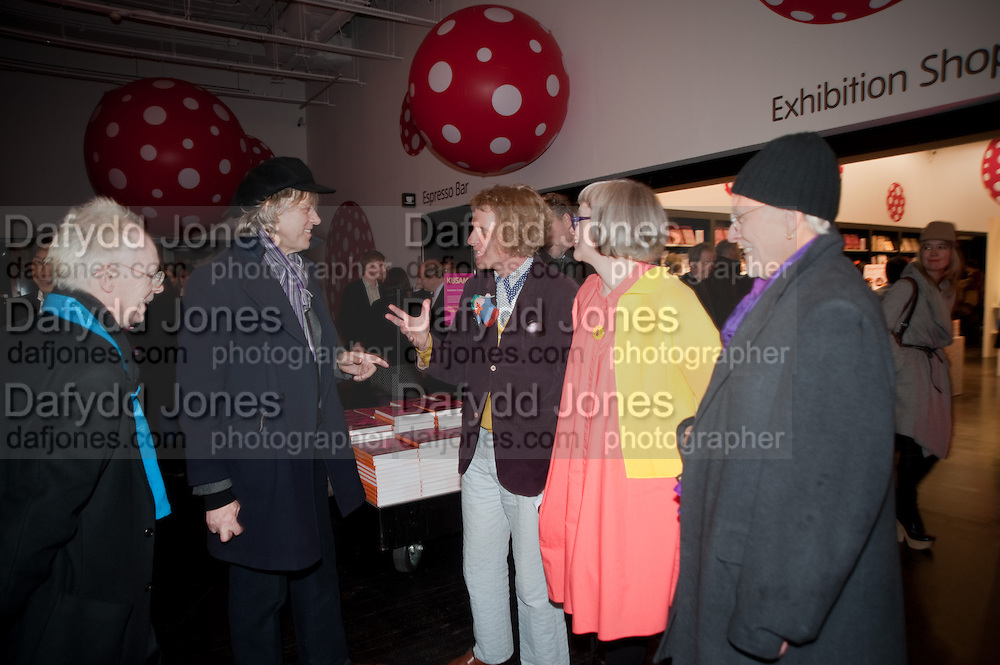 ANTHONY FAWCETT; SIR BOB GELDOF; GRAYSON PERRY; PHILLIPA PERRY; JOHN DUNBAR, Yayoi Kusama opening. Tate Modern. London. 7 February 2012
