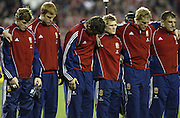 The Lions have a moments silence prior to the rugby test match between the All Blacks and the Lions played at Eden Park, Auckland, 09 July 2005. Photo: Michael Bradley/PHOTOSPORT