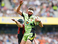 Tom Wood of Northampton Saints wins a lineout during the Aviva Premiership final at Twickenham Stadium, Twickenham<br /> Picture by Andrew Tobin/Focus Images Ltd +44 7710 761829<br /> 31/05/2014