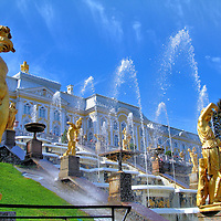 Grand Cascade Statues and Fountains at Peterhof Palace in Saint Petersburg, Russia<br />