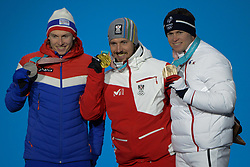 February 18, 2018 - Pyeongchang, South Korea - HENRICK KRISTOFFERSEN of Norway (left) , MARCEL HIRSCHER of Austria (center) and ALEXIS PINTURAULT of France with their medals from the men's Super-G skiing event in the PyeongChang Olympic Games. (Credit Image: © Christopher Levy via ZUMA Wire)
