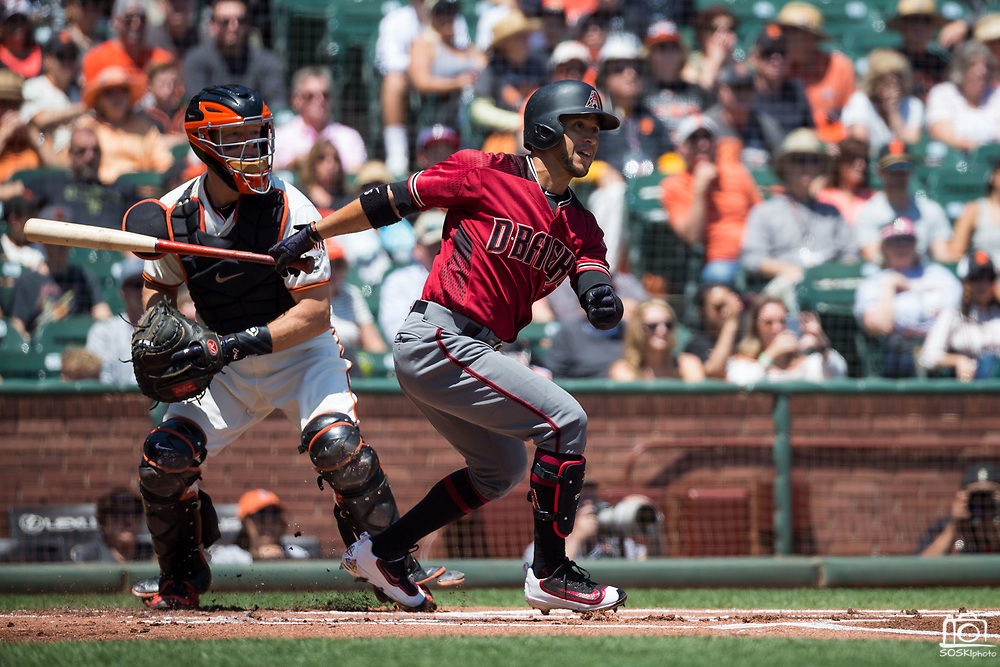 Arizona Diamondbacks center fielder Gregor Blanco (5) bats against the San Francisco Giants at AT&T Park in San Francisco, California, on August 6, 2017. (Stan Olszewski/Special to S.F. Examiner)