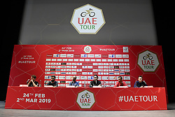 February 23, 2019 - Abu Dhabi - Foto LaPresse - Fabio Ferrari.23 Febbraio 2019 Abu Dhabi (Emirati Arabi Uniti).Sport Ciclismo.UAE Tour 2019 - Conferenza Tor Riders.Nella foto: Mark Cavendish, Vincenzo Nibali, Alejandro Valverde, Elia Viviani, Fernando Gaviria, Tom Dumoulin..Photo LaPresse - Fabio Ferrari.February 23, 2019 Abu Dhabi (United Arab Emirates) .Sport Cycling.UAE Tour 2018 - Top rider press conference.In the pic: Mark Cavendish, Vincenzo Nibali, Alejandro Valverde, Elia Viviani, Fernando Gaviria, Tom Dumoulin (Credit Image: © Fabio Ferrari/Lapresse via ZUMA Press)