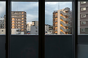 residential high-rise buildings seen from the window of an other building Yokosuka Japan