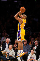 25 February 2011: Guard Derek Fisher of the Los Angeles Lakers shoots a jumpshot against the Los Angeles Clippers during the first half of the Lakers 108-95 victory over the Clippers at the STAPLES Center in Los Angeles, CA.