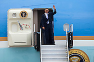 CAPE CANAVERAL, FL -  APRIL 15:  United States President Barack Obama exits Air Force One at the shuttle landing facility at Kennedy Space Center April 15, 2010 in Cape Canaveral. Obama was holding a summit to discuss the future of the space program. (Photo by Matt Stroshane/Getty Images)