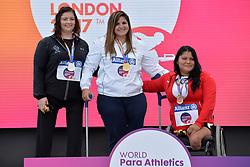 16/07/2017 : Orla Barry (IRL), Nassima Saifi (ALG), Floralia Estrada Bernal (MEX), F57, Women's Discus, Podium, at the 2017 World Para Athletics Championships, Olympic Stadium, London, United Kingdom