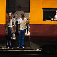 Train arriving at Yangon train station