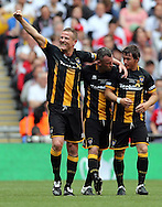 Chris Swailes (l) of Morpeth Town AFC celebrates scoring to make it 1-1 during the FA Vase Final at Wembley Stadium, London<br /> Picture by Simon Moore/Focus Images Ltd 07807 671782<br /> 22/05/2016