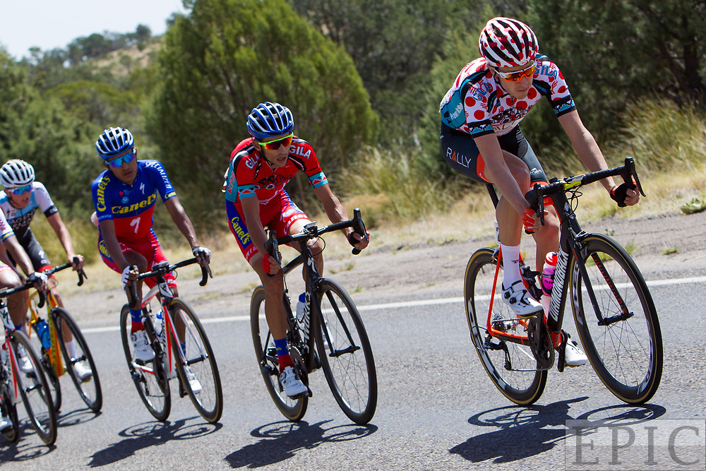 SILVERY CITY, NM - APRIL 19: Robert Britton (Rally Cycling) leads race leader Oscar Eduardo Snchez Guarn (Canel's-Specialized) during stage 2 of the Tour of The Gila on April 19, 2018 in Silver City, New Mexico. (Photo by Jonathan Devich/Epicimages.us)