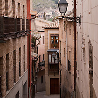 A narrow street in Toledo, Spain.