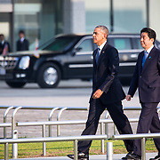 HIROSHIMA, JAPAN - MAY 27 : U.S. President Barack Obama (left) and Prime Minister Shinzo Abe (right) walk towards the cenotaph to lay lay a wreath in Hiroshima Peace Memorial Park in Hiroshima, Japan on May 27, 2016. US President Barack Obama is the first American president to visit Hiroshima after United States of America dropped Atomic bomb in Hiroshima on August 6, 1945.<br /> <br /> Photo: Richard Atrero de Guzman<br /> <br />  <br /> <br /> <br /> <br /> <br /> <br /> Photo: Richard Atrero de Guzman