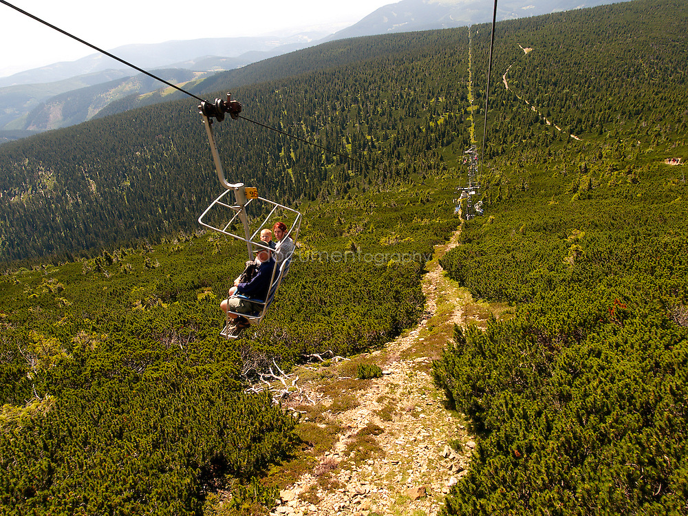 The cable car going to the top of Snezka, Krkonose, Czech Republic.