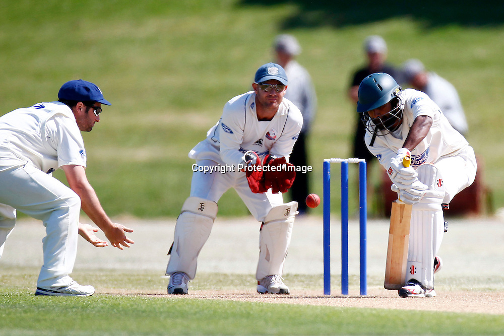 Central's Tarun Nethula during day 4 of the plunket shield cricket match between the Auckland Aces and the Central Stags. Domestic 4 day cricket. Colin Maiden Park, Auckland. 2 December 2011. Ella Brockelsby / photosport.co.nz