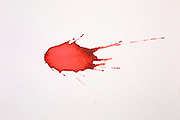 Blood droplet. In forensic science, the pattern created by projected blood is analyzed to determine information about the origin on the body, the weapon used and the number of blows, the relative position of the victim and assailant, and the sequence of events. This is a single drop that fell 20 cm onto a paper surface angled at 75 degrees to the horizontal.