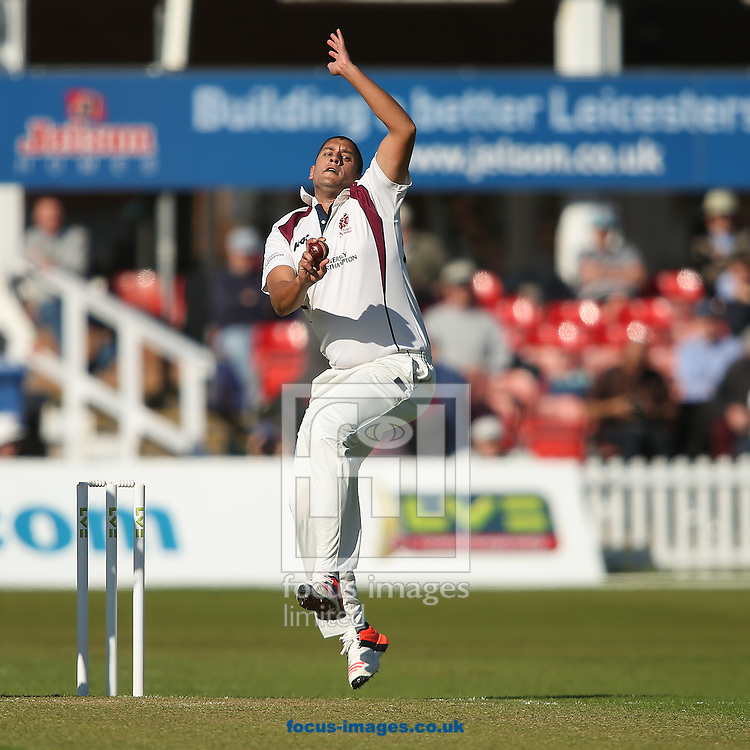 Rory Kleinveldt of Northamptonshire County Cricket Club in delivery stride during the LV County Championship Div Two match at Grace Road, Leicester<br /> Picture by Andy Kearns/Focus Images Ltd 0781 864 4264<br /> 26/04/2015