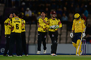 Kyle Abbott of Hampshire walks off as Somerset celebrate during the NatWest T20 Blast South Group match between Hampshire County Cricket Club and Somerset County Cricket Club at the Ageas Bowl, Southampton, United Kingdom on 18 August 2017. Photo by Dave Vokes.
